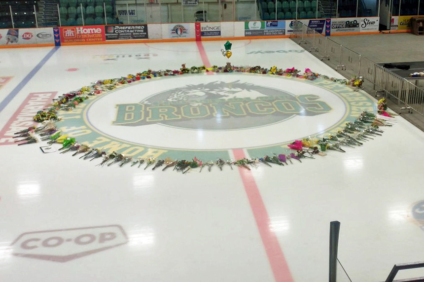 On-ice Broncos memorial to come down at Humboldt rink
