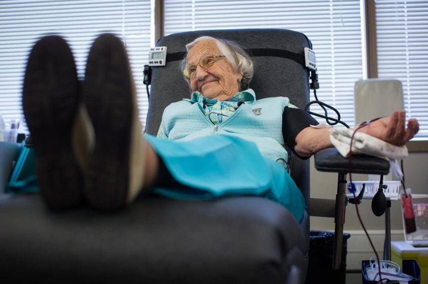 Canada's oldest blood donor says busy mind, vitamins helped her give back