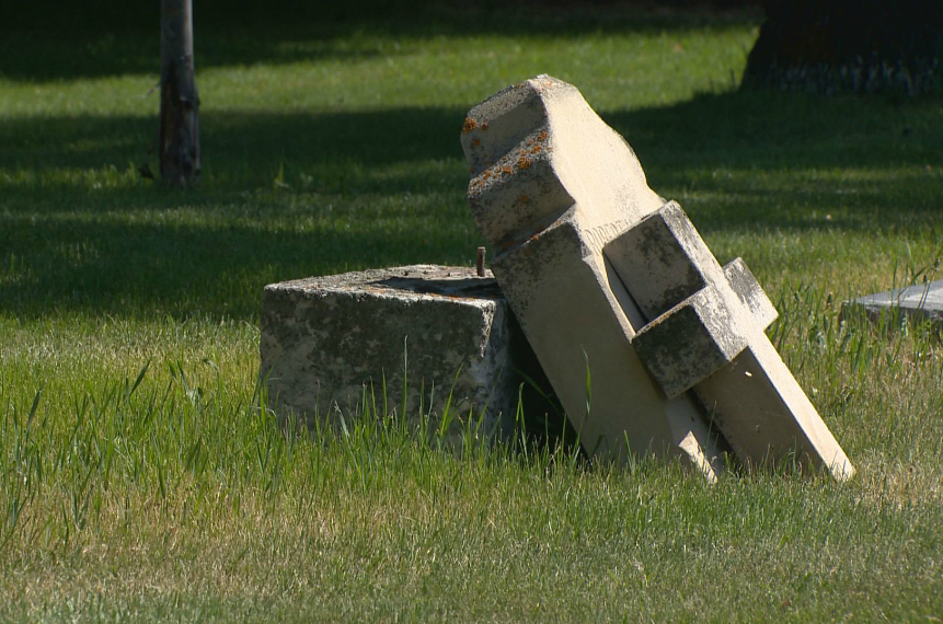 Grave markers nearly a century old vandalized in Saskatoon