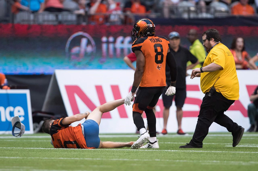 Streaking fan levelled by Lions player hires Toronto-based law firm