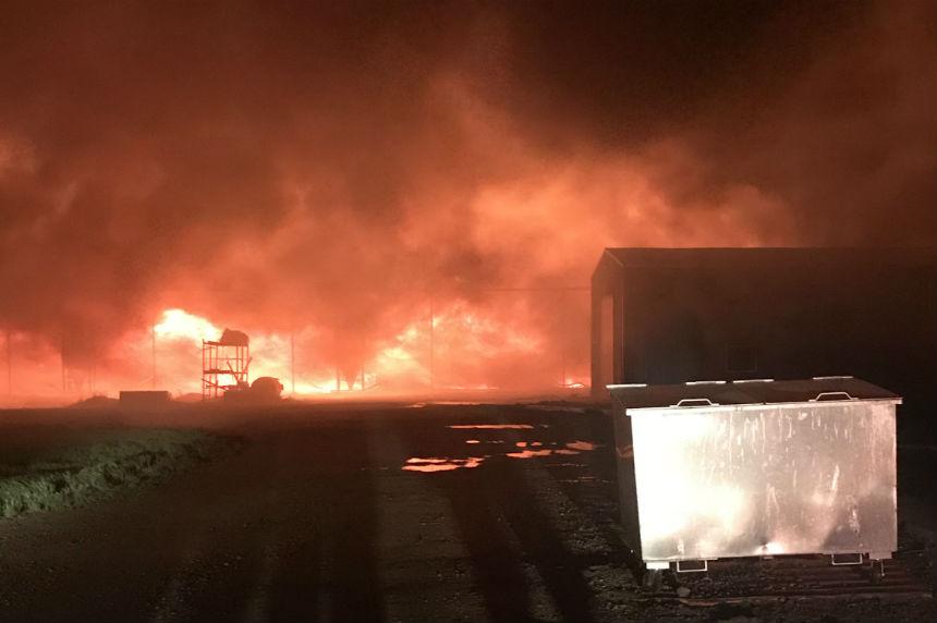Sask. firefighters turned away from massive barn blaze