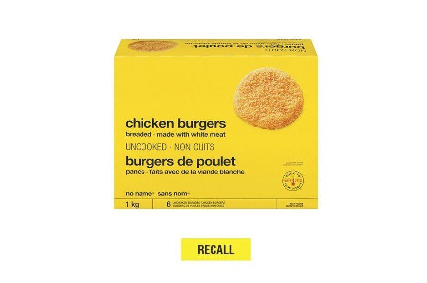 Loblaw recalls No Name brand chicken burgers over salmonella fears