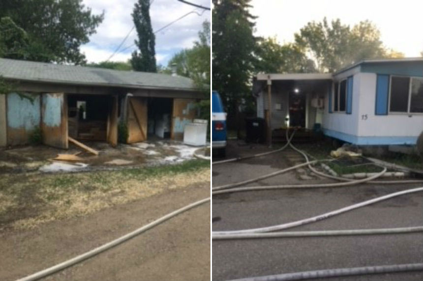 Neighbour alerts man to mobile home fire in Saskatoon