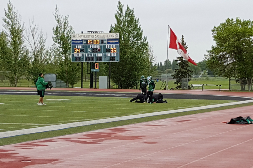 Rain takes centre stage at Roughriders training camp