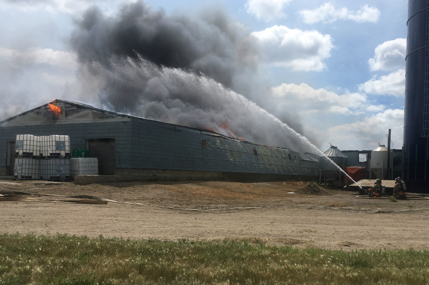 Storage barn blazes at Riverview Hutterite Colony