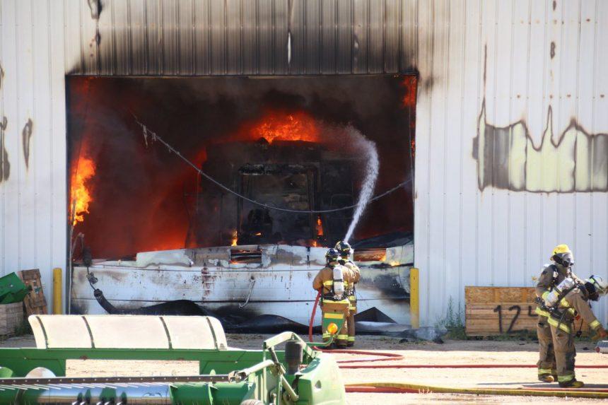 Flames engulf Cervus Equipment John Deere in Rosthern
