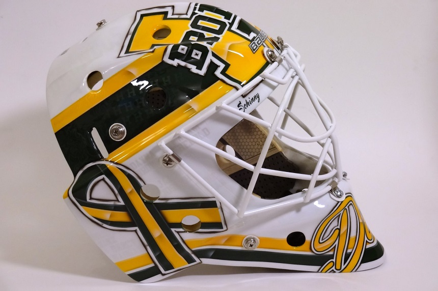 New Broncos goalie commissions tribute mask to crash victims