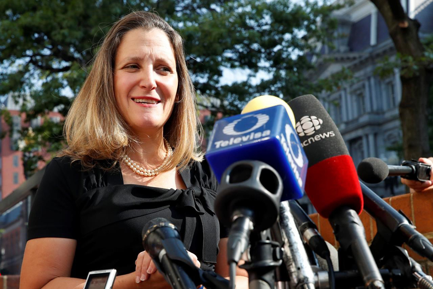 Freeland, Lighthizer resume NAFTA talks as Trump's Friday deadline looms