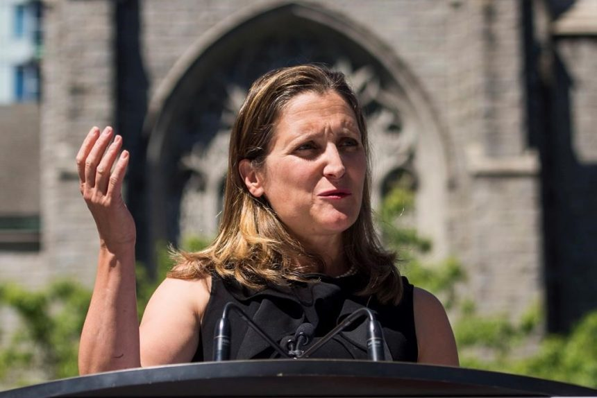 Freeland defends Canada's position, says it will always speak up for human rights