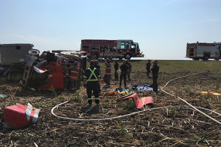 Semi rollover near Saskatoon sends driver to hospital