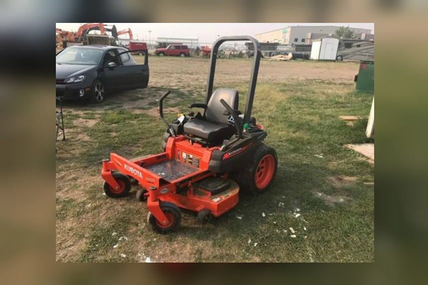 Rugby pitch riding mower ripped off