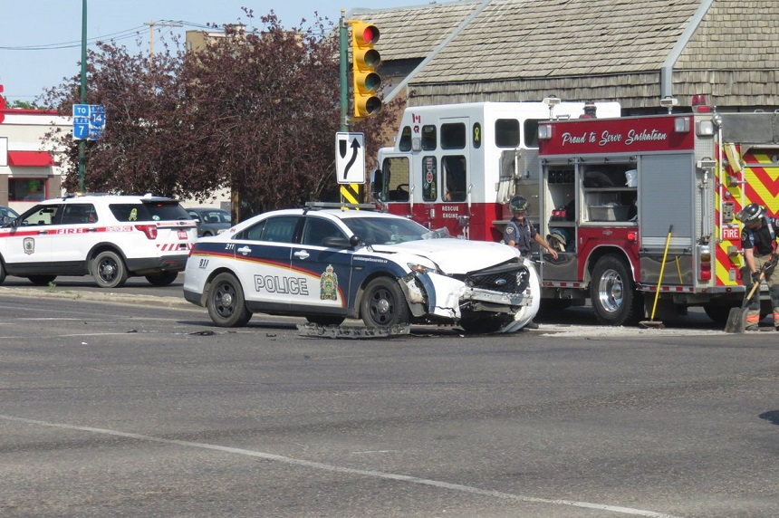 Saskatoon police vehicle involved in downtown collision