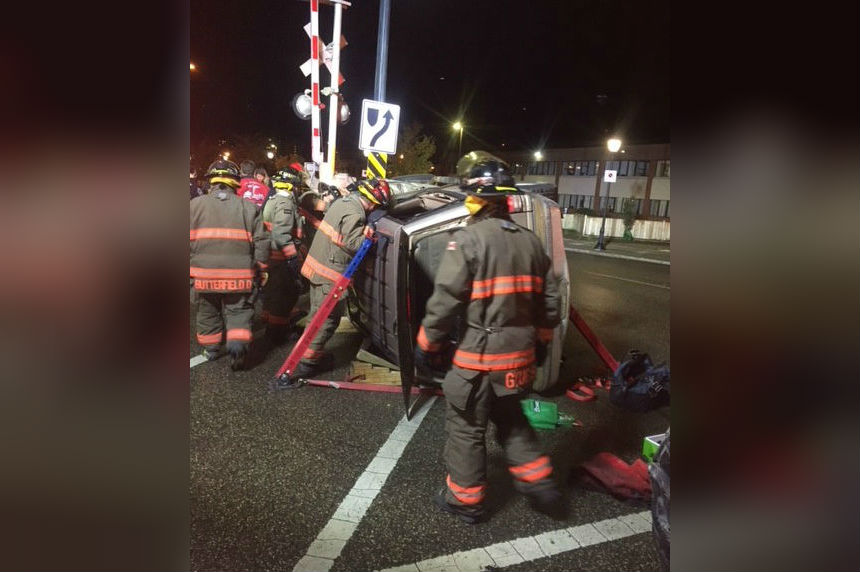 Saskatoon fire crews rescue 2 people trapped in flipped SUV
