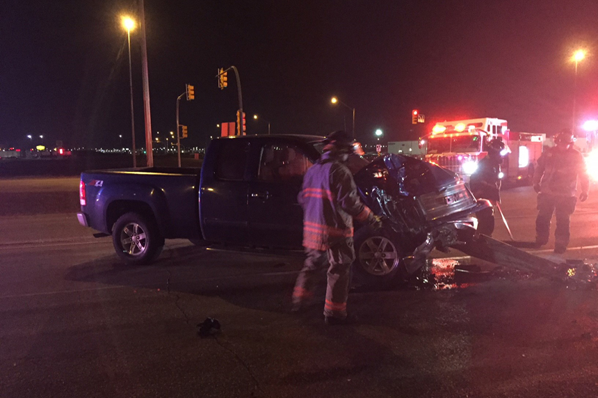 Pickup truck, ambulance involved in early morning collision