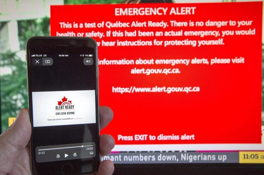 Canada's emergency alert system to be tested Wednesday afternoon