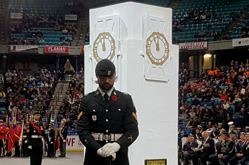 Thousands mark 100 years since end of First World War at Sasktel Centre