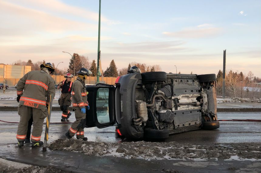 Fire crews pull passengers from rolled SUV on Warman Road