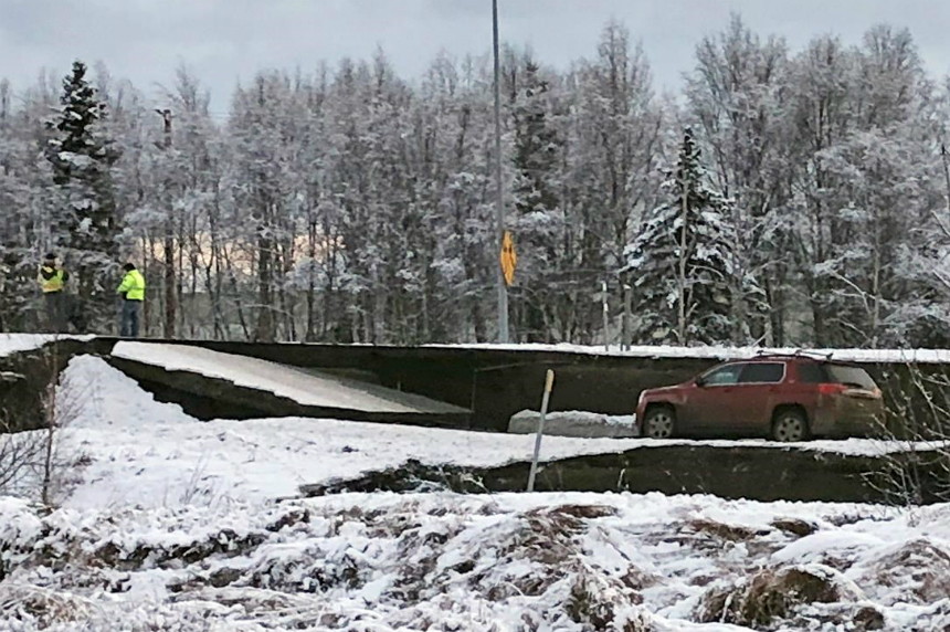 Powerful quakes buckle Alaska roads, trigger tsunami warning