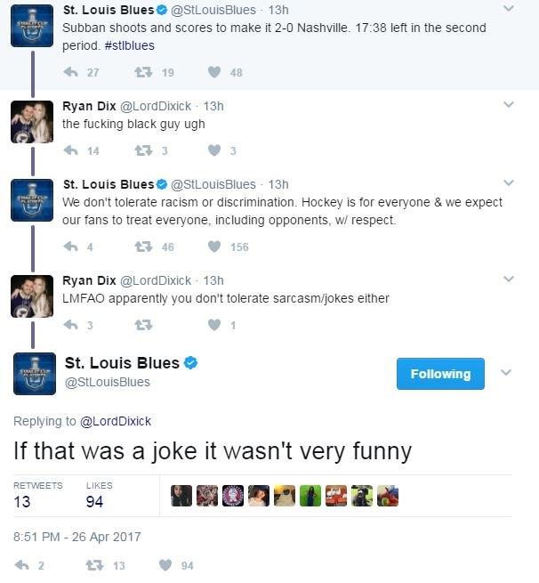 St. Louis Blues Twitter Shuts Down Racist Fan After PK Subban Goal