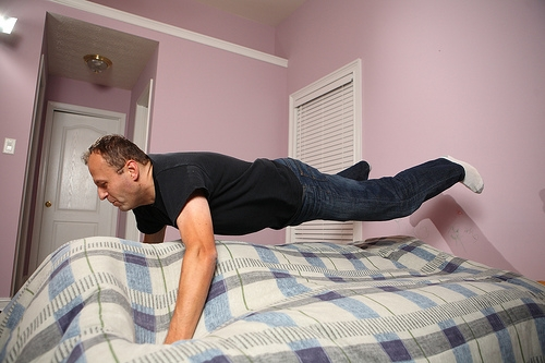 Never too old to jump on the bed!