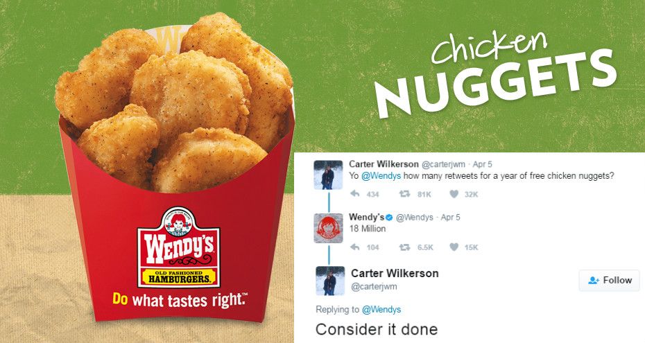 18 MILLION RT'S WORTH OF CHICKEN NUGGETS.