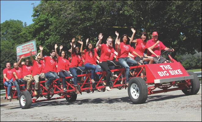 We're riding a BIG Bike  tomorrow at The Forks !