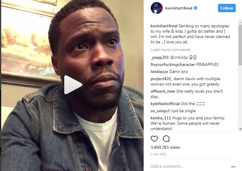 Kevin Hart Caught Cheating; Posts Apology Video