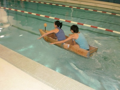 Paddling Cardboard Boats today at the Air-Base!