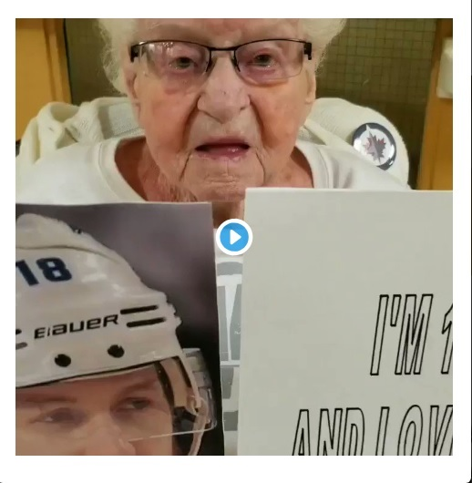 105 yr young Jets fan cheers on her team and her man Wheeler!