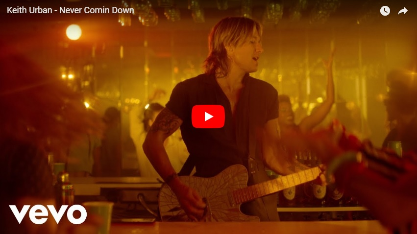"""New 2U at 2:02 Aug 28, 2018:  Will you add Keith Urban's """"Never Comin' Down"""" to your personal playlist?..."""