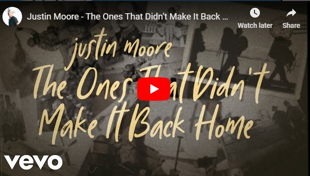 """New 2U at 2:02 Nov. 5, 2018:  Will you add Justin Moore """"The Ones That Didn't Make It Back Home"""" to YOUR playlist?"""