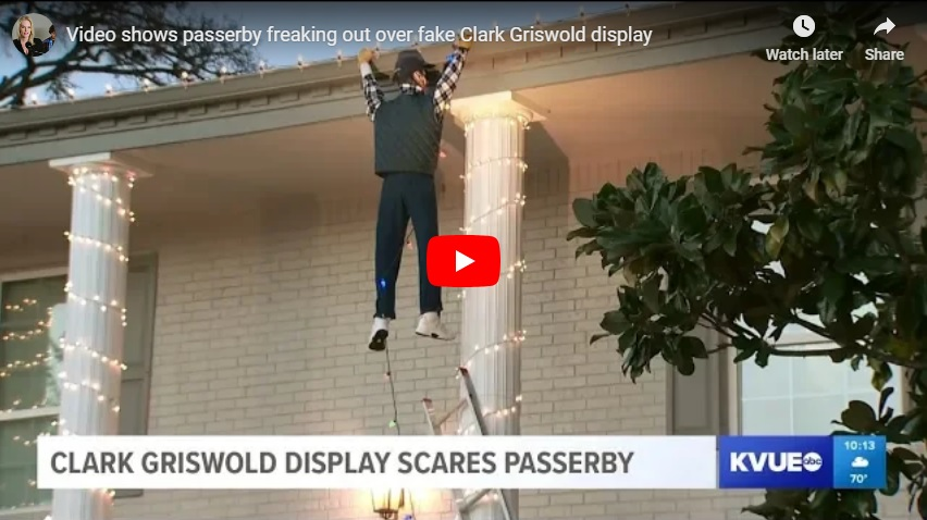 Good Samaritan tries to rescue fake Clark Griswold from a Christmas display...(Watch!)
