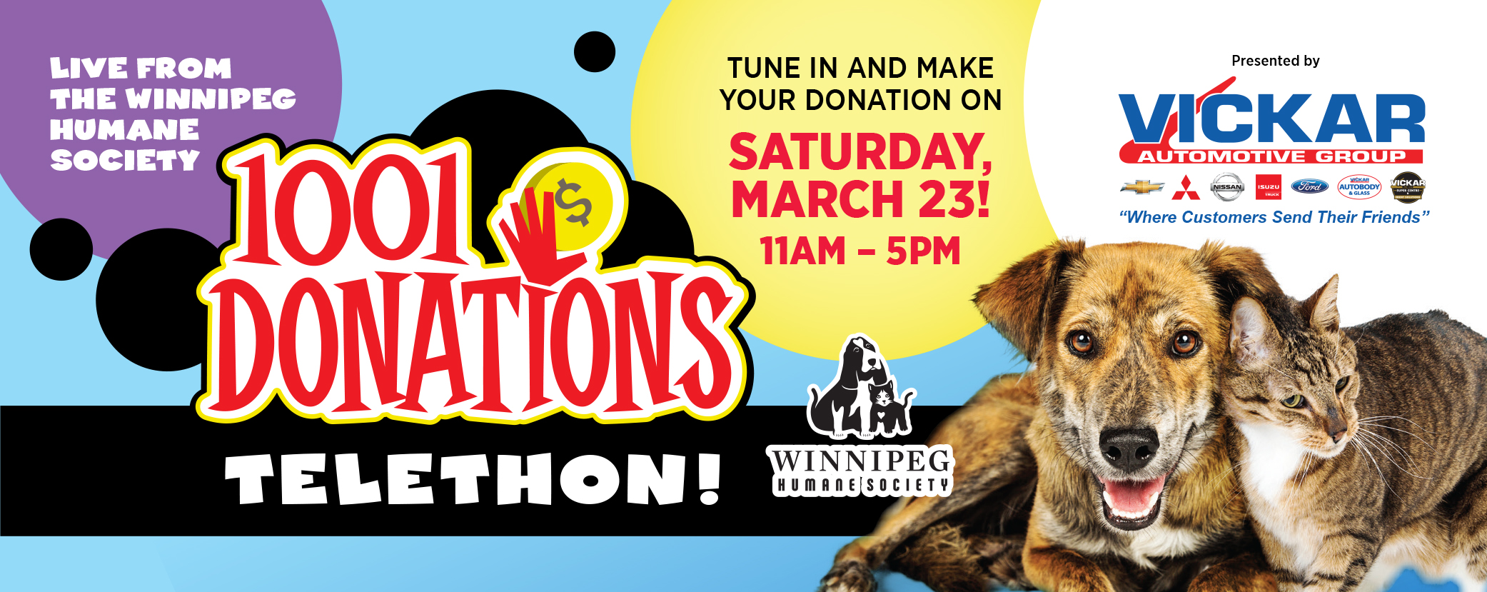 1001 Donations is the Winnipeg Humane Society's (WHS) first signature event of the year. It is a six-hour live Telethon hosted by Red River College Creative ...