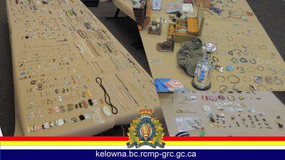 West Kelowna Police Return Recovered Stolen Goods