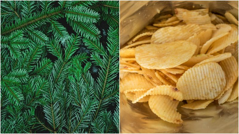 Christmas Tree flavored potato chips?  Yep.....it's a thing!