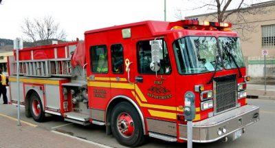 Kelowna Fire Dept. Douse Vehicle Fire