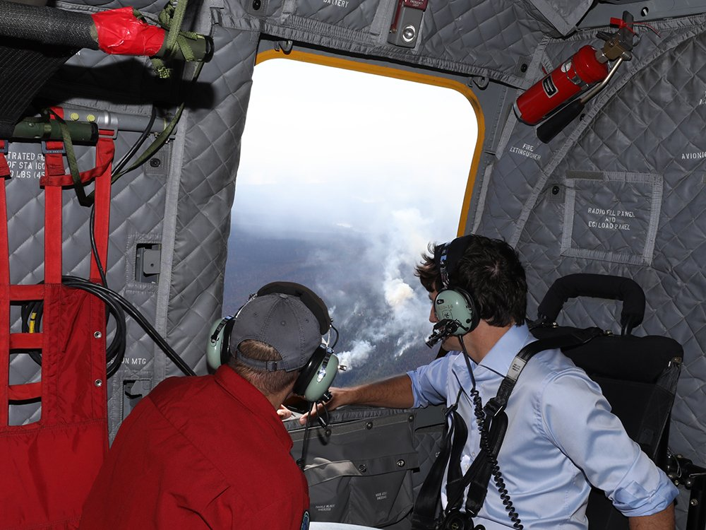 Trudeau/Horgan Visit Fire Zone, Police Look for Knox Mtn Firestarters and Firebug on Harvey