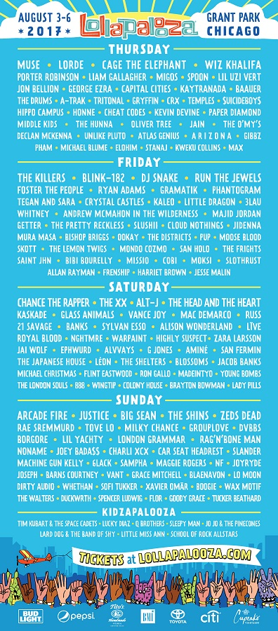 Blink 182, Muse, Cage the Elephant to Play Lollapalooza 2017