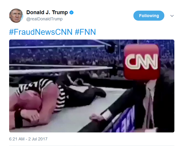 Trump Tweets a Clip of Him Beating CNN to the Ground