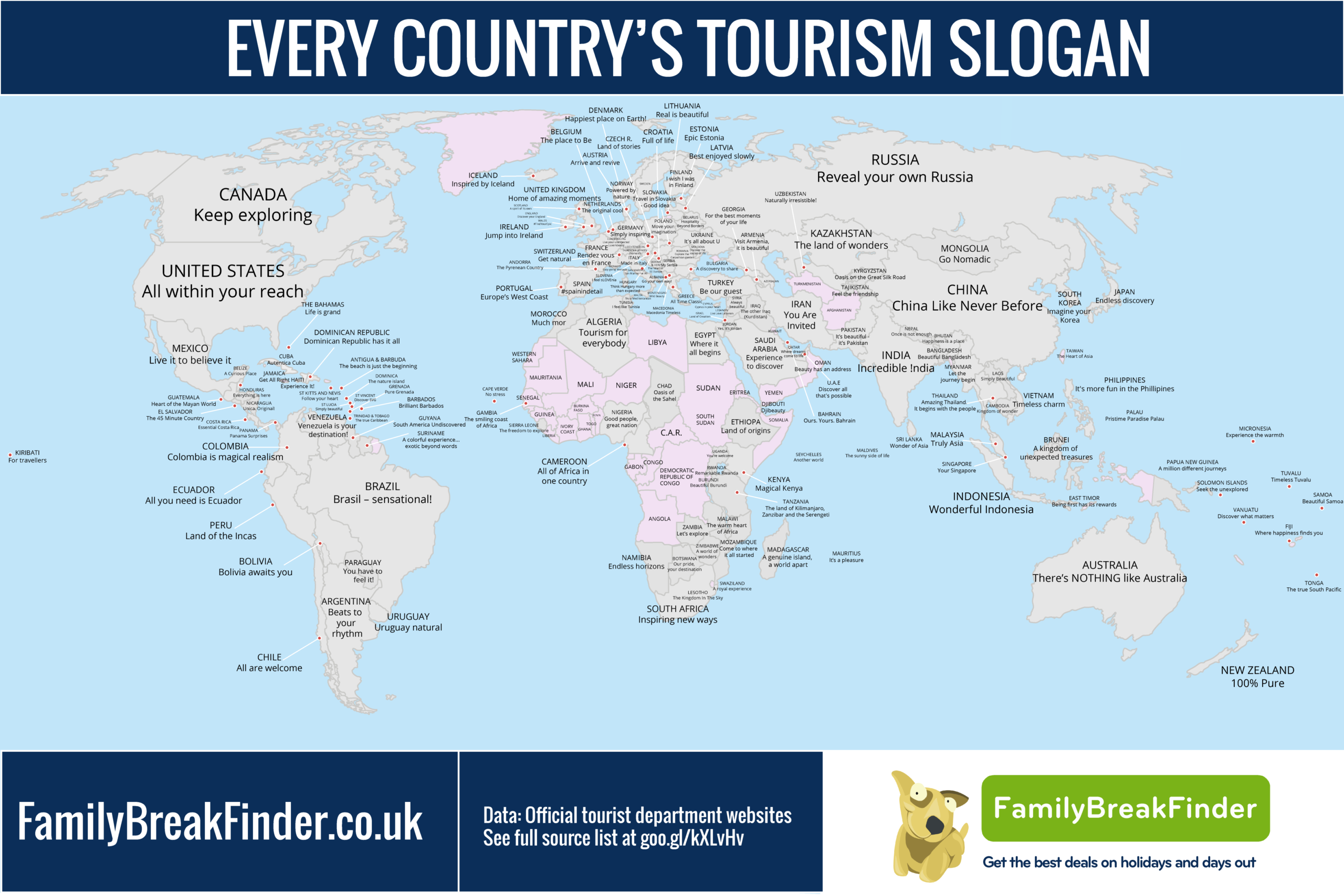 A Map Of Every Country's Tourism Slogan