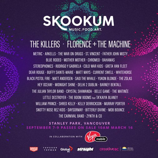 SKOOKUM Festival Announcement Includes The Killers, Florence & The Machine AND MORE!