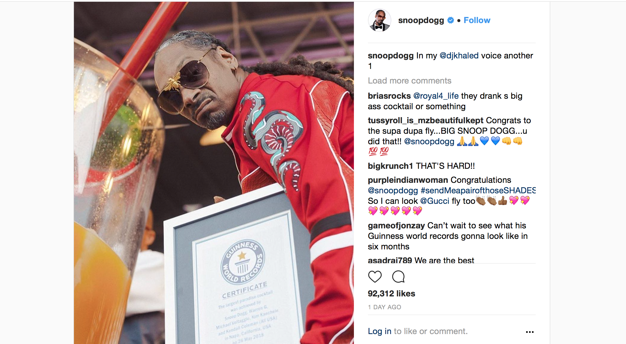 Snoop Dogg Sets World Record For Largest Gin & Juice