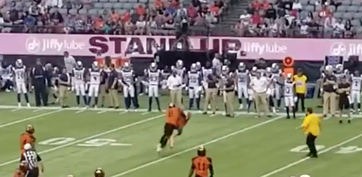 BC Lions Streaker Gets Tackled By Marcell Young