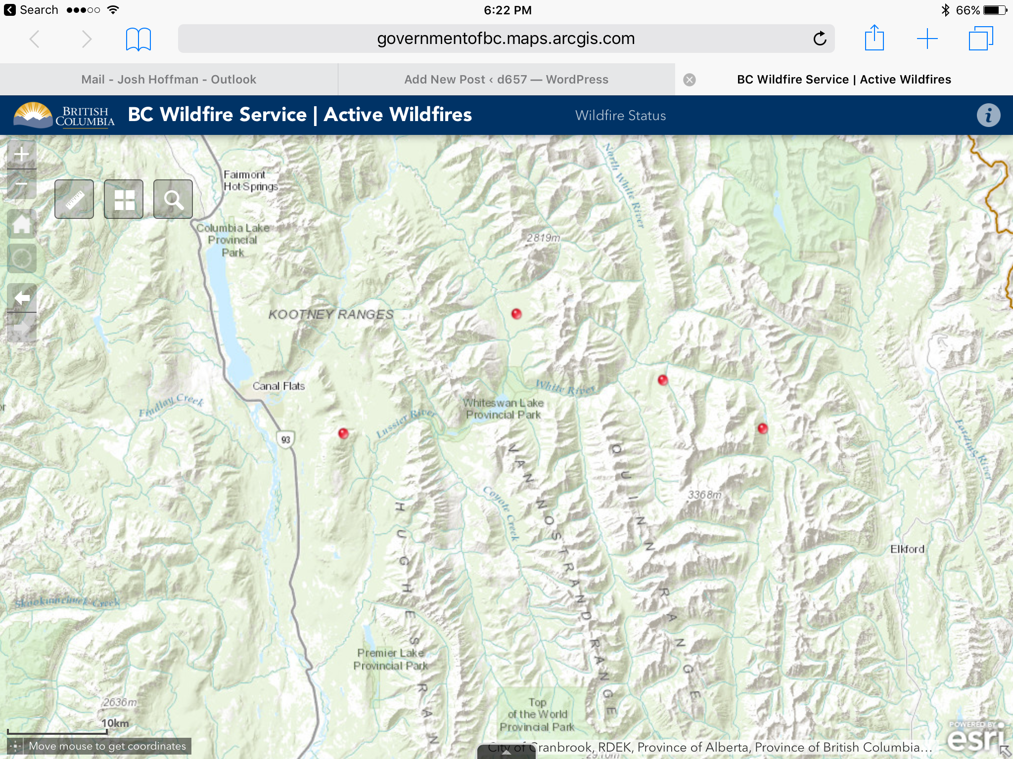 String of wildfires ignite between Canal Flats and Elkford