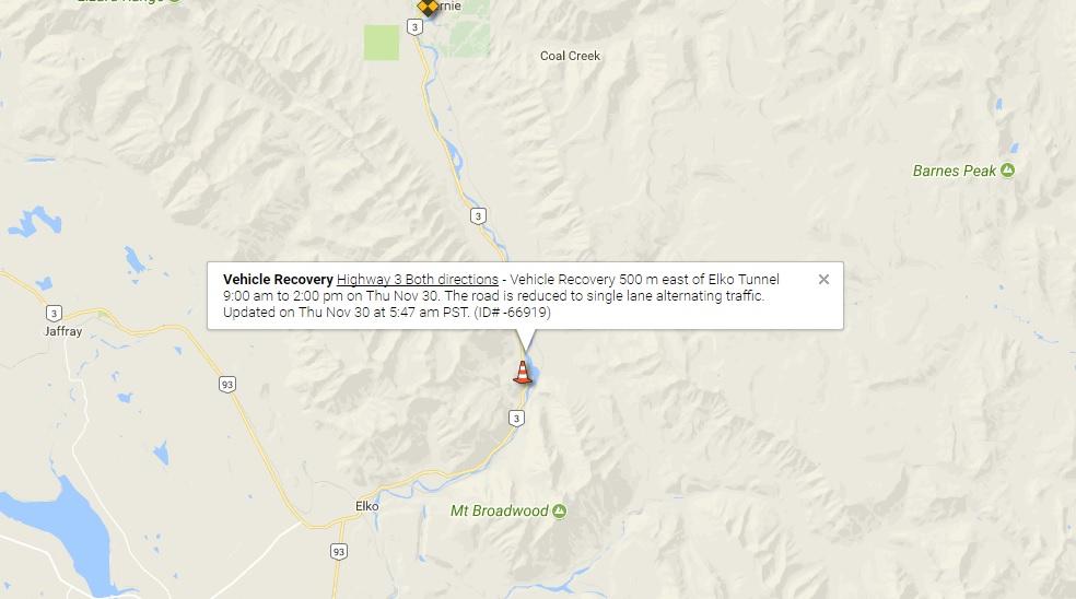 Hwy 3 down to single-lane alternating near Elko