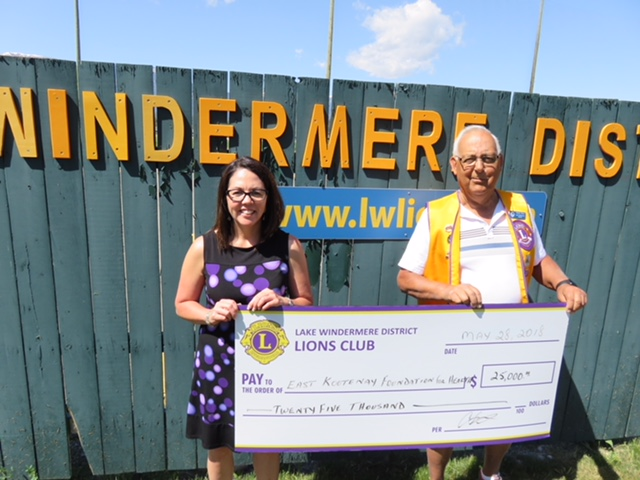 Windermere District Lions donate $25,000 to East Kootenay Foundation for Health