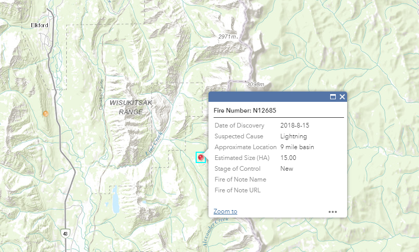 Elkford Fire Department monitoring new blaze east of Line Creek
