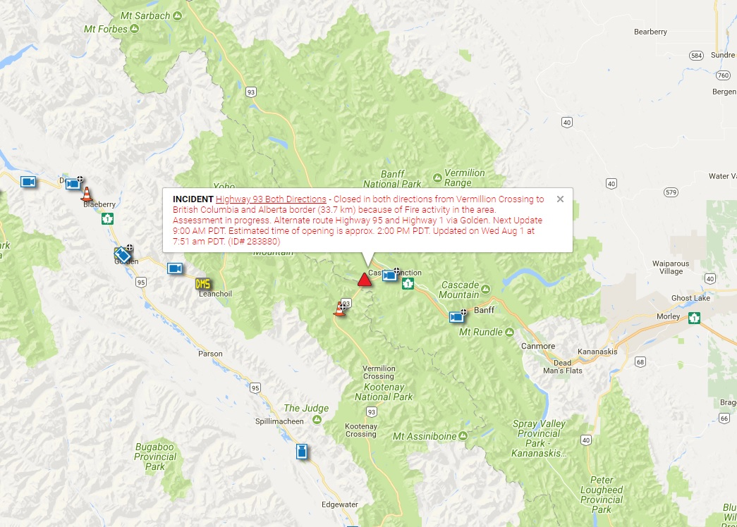UPDATE: HWY 93 to remain closed east of Radium Hot Springs overnight