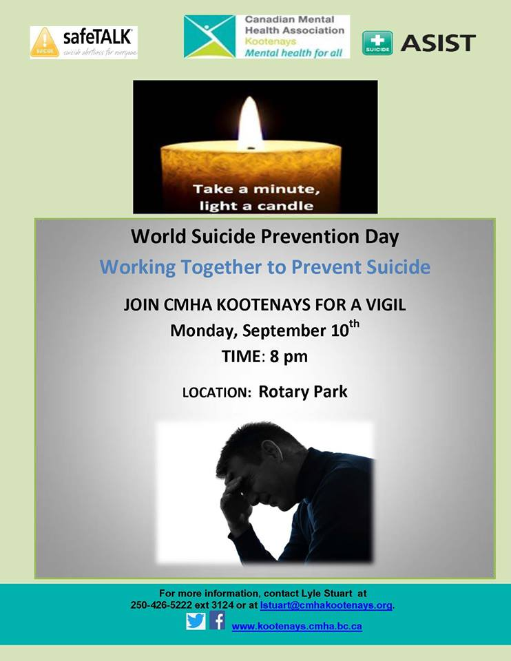 Awareness event in Cranbrook to recognize World Suicide Prevention Day