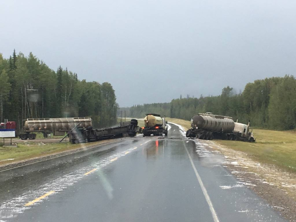 Semi-trucks collide on Highway 40